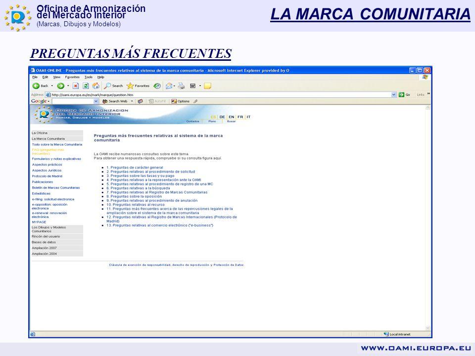 Oficina de Armonización del Mercado Interior (Marcas, Dibujos y Modelos) LA MARCA COMUNITARIA PREGUNTAS MÁS FRECUENTES