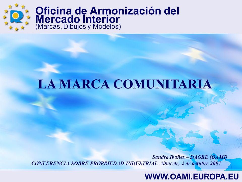 Oficina de Armonización del Mercado Interior (Marcas, Dibujos y Modelos) LA MARCA COMUNITARIA LA MARCA COMUNITARIA SE BASA EN LOS SIGUIENTES REGLAMENTOS: REGLAMENTO (CE) Nº40/94 DEL CONSEJO DEL 20 de diciembre 1993 REGLAMENTO DE EJECUCIÓN(CE) Nº2868/95 DE LA COMISIÓN