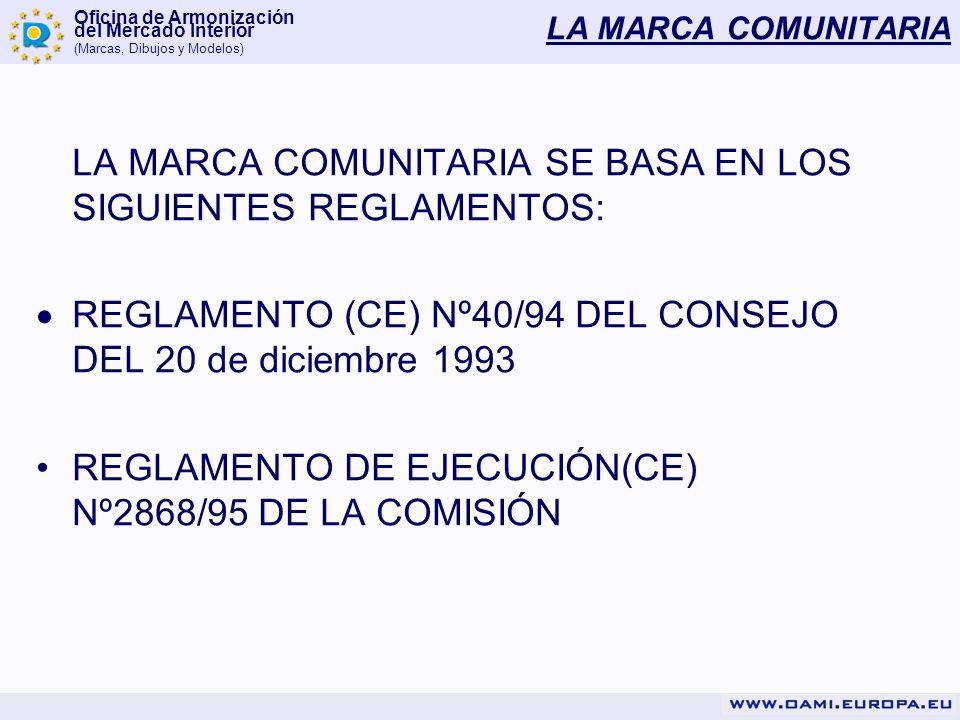 Oficina de Armonización del Mercado Interior (Marcas, Dibujos y Modelos) LA MARCA COMUNITARIA TÍTULO VÁLIDO PARA TODA LA UE (27 PAISES) PRINCIPIO DE TODO O NADA GESTION SIMPLIFICADA (1 solicitud, 1 serie de tasas, 1 reglamento, etc…)