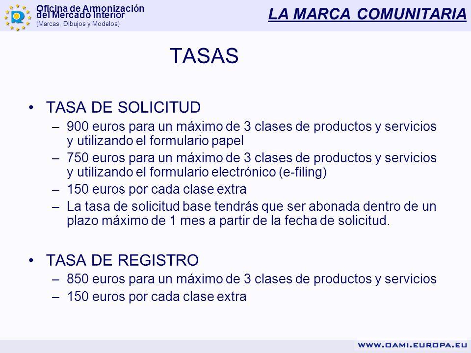 Oficina de Armonización del Mercado Interior (Marcas, Dibujos y Modelos) LA MARCA COMUNITARIA TASAS TASA DE SOLICITUD –900 euros para un máximo de 3 c