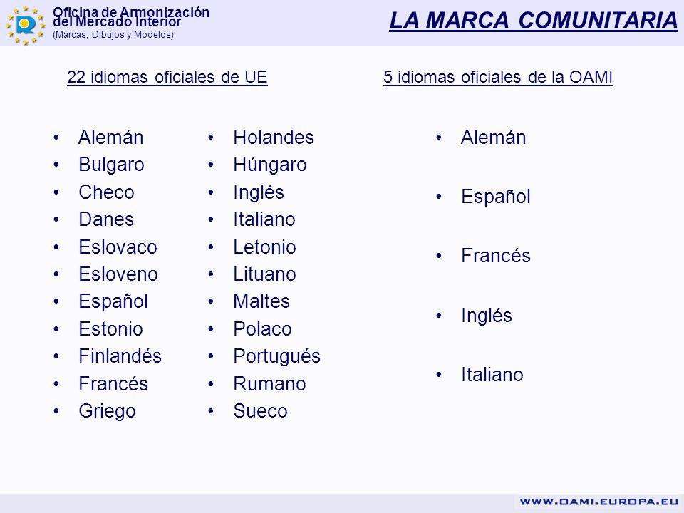 Oficina de Armonización del Mercado Interior (Marcas, Dibujos y Modelos) LA MARCA COMUNITARIA 22 idiomas oficiales de UE5 idiomas oficiales de la OAMI