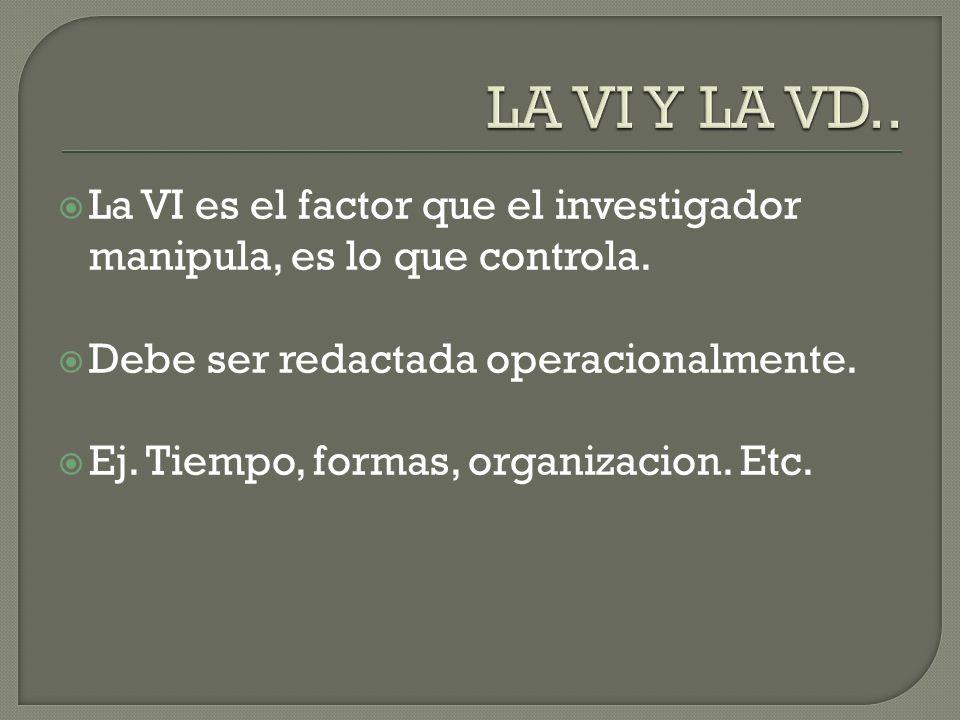 La VI es el factor que el investigador manipula, es lo que controla.