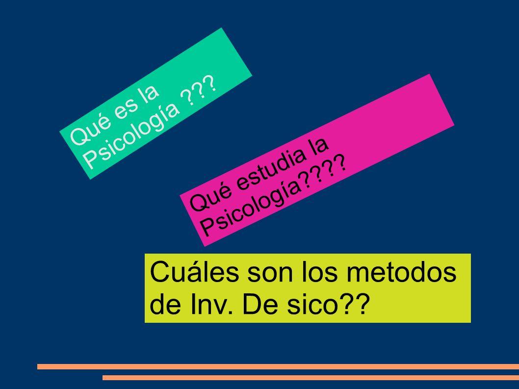 Qué estudia la Psicología???? Qué es la Psicología ??? Cuáles son los metodos de Inv. De sico??