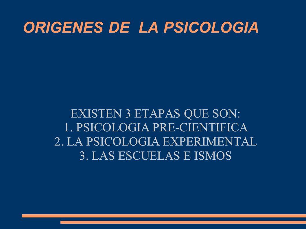 ORIGENES DE LA PSICOLOGIA EXISTEN 3 ETAPAS QUE SON: 1. PSICOLOGIA PRE-CIENTIFICA 2. LA PSICOLOGIA EXPERIMENTAL 3. LAS ESCUELAS E ISMOS
