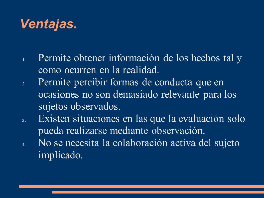 Ventajas. 1. Permite obtener información de los hechos tal y como ocurren en la realidad. 2. Permite percibir formas de conducta que en ocasiones no s