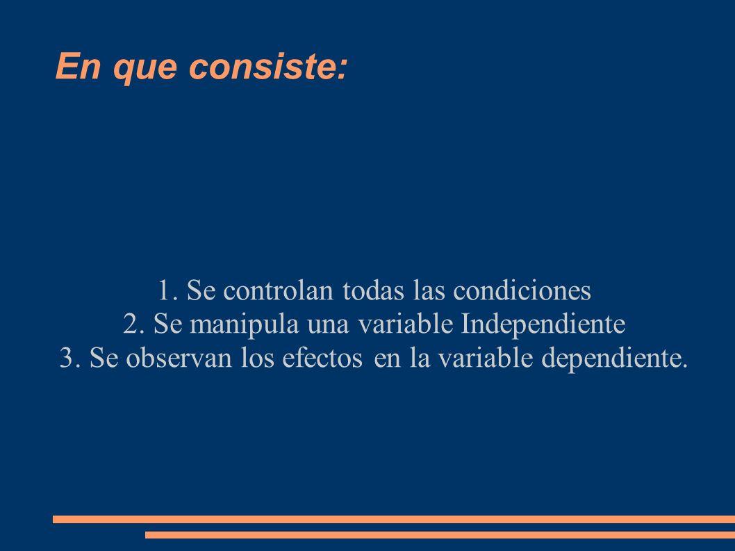 En que consiste: 1. Se controlan todas las condiciones 2. Se manipula una variable Independiente 3. Se observan los efectos en la variable dependiente