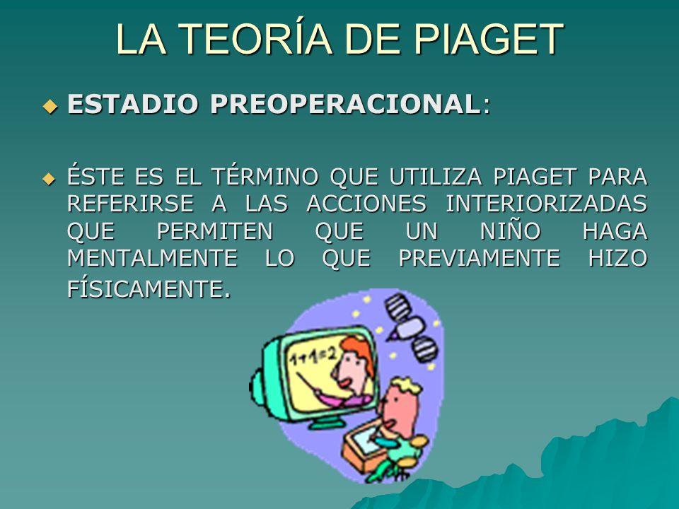 LA TEORÍA DE PIAGET ESTADIO PREOPERACIONAL: ESTADIO PREOPERACIONAL: ÉSTE ES EL TÉRMINO QUE UTILIZA PIAGET PARA REFERIRSE A LAS ACCIONES INTERIORIZADAS QUE PERMITEN QUE UN NIÑO HAGA MENTALMENTE LO QUE PREVIAMENTE HIZO FÍSICAMENTE.