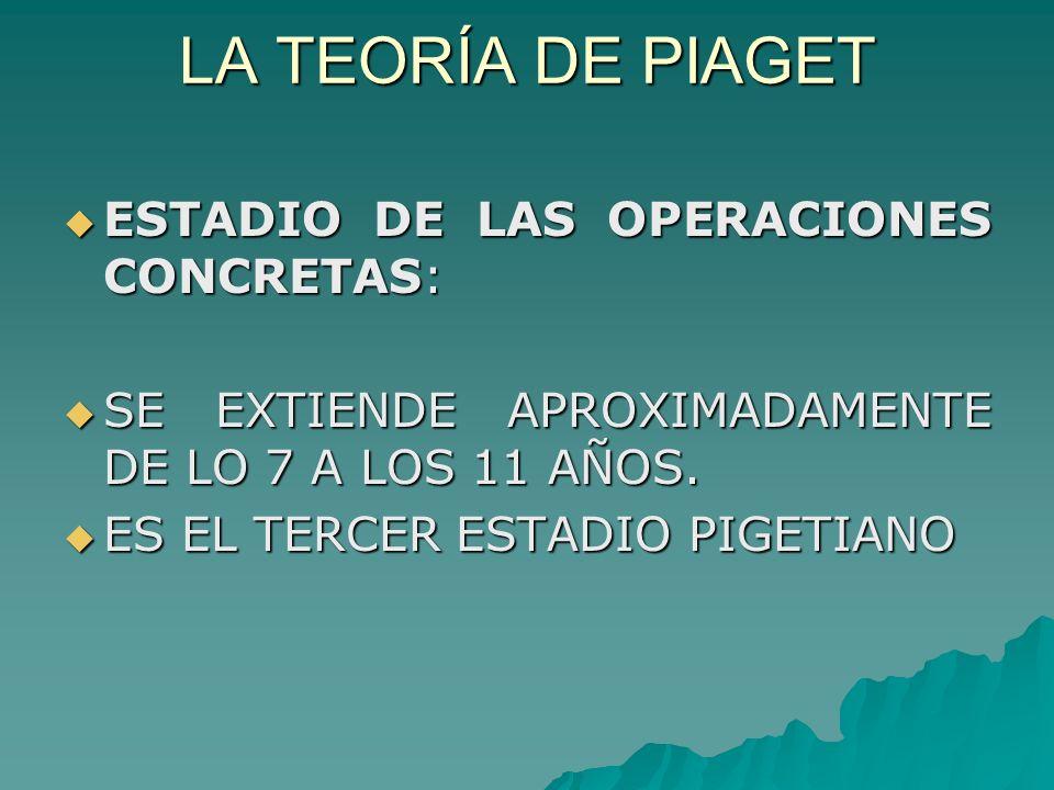 LA TEORÍA DE PIAGET ESTADIO DE LAS OPERACIONES CONCRETAS: ESTADIO DE LAS OPERACIONES CONCRETAS: SE EXTIENDE APROXIMADAMENTE DE LO 7 A LOS 11 AÑOS.