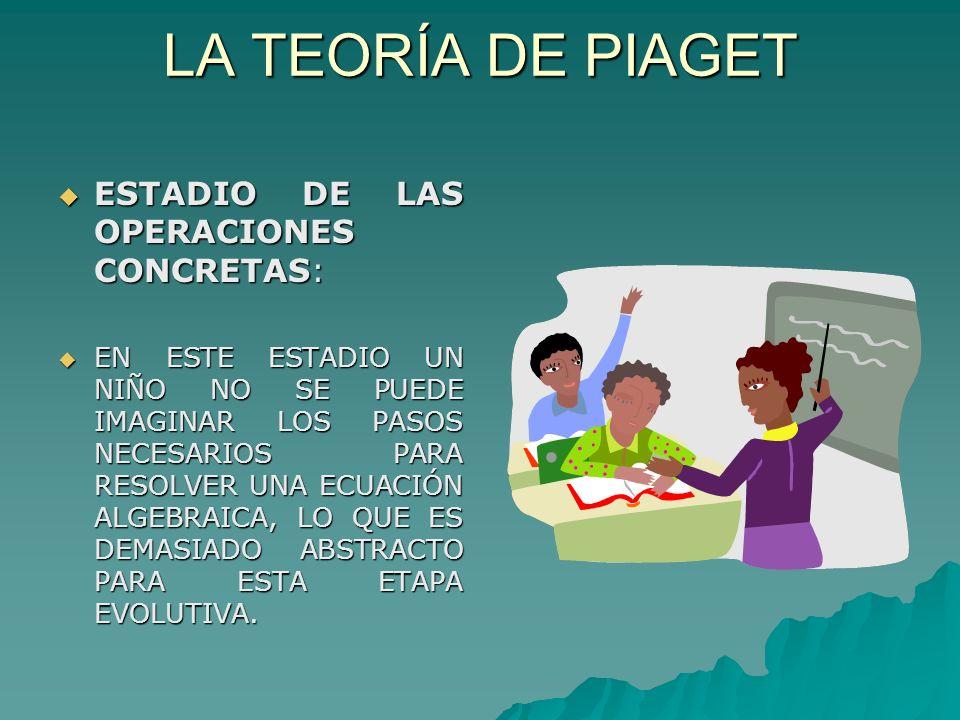 LA TEORÍA DE PIAGET ESTADIO DE LAS OPERACIONES CONCRETAS: ESTADIO DE LAS OPERACIONES CONCRETAS: EN ESTE ESTADIO UN NIÑO NO SE PUEDE IMAGINAR LOS PASOS NECESARIOS PARA RESOLVER UNA ECUACIÓN ALGEBRAICA, LO QUE ES DEMASIADO ABSTRACTO PARA ESTA ETAPA EVOLUTIVA.