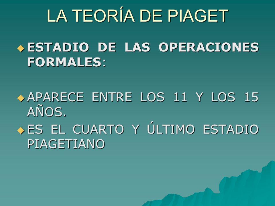 LA TEORÍA DE PIAGET ESTADIO DE LAS OPERACIONES FORMALES: ESTADIO DE LAS OPERACIONES FORMALES: APARECE ENTRE LOS 11 Y LOS 15 AÑOS.