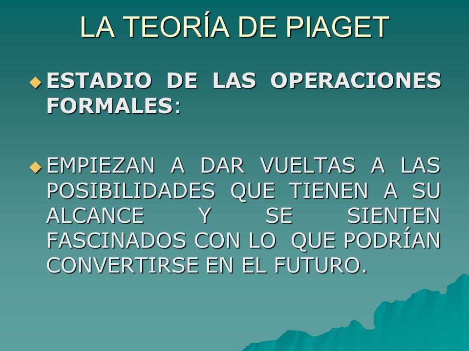 LA TEORÍA DE PIAGET ESTADIO DE LAS OPERACIONES FORMALES: ESTADIO DE LAS OPERACIONES FORMALES: EMPIEZAN A DAR VUELTAS A LAS POSIBILIDADES QUE TIENEN A SU ALCANCE Y SE SIENTEN FASCINADOS CON LO QUE PODRÍAN CONVERTIRSE EN EL FUTURO.