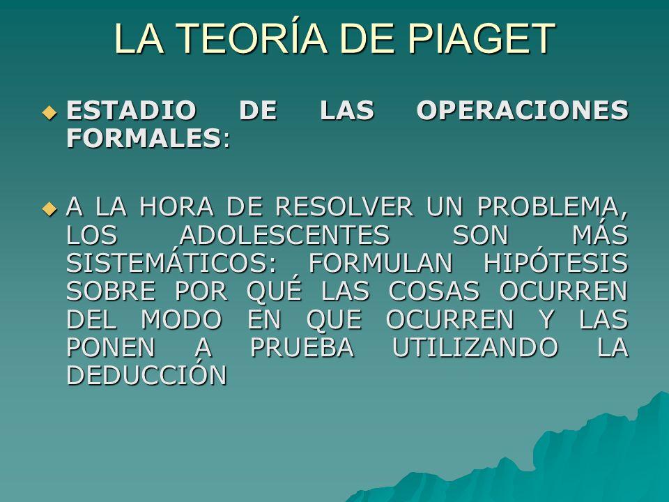 LA TEORÍA DE PIAGET ESTADIO DE LAS OPERACIONES FORMALES: ESTADIO DE LAS OPERACIONES FORMALES: A LA HORA DE RESOLVER UN PROBLEMA, LOS ADOLESCENTES SON MÁS SISTEMÁTICOS: FORMULAN HIPÓTESIS SOBRE POR QUÉ LAS COSAS OCURREN DEL MODO EN QUE OCURREN Y LAS PONEN A PRUEBA UTILIZANDO LA DEDUCCIÓN A LA HORA DE RESOLVER UN PROBLEMA, LOS ADOLESCENTES SON MÁS SISTEMÁTICOS: FORMULAN HIPÓTESIS SOBRE POR QUÉ LAS COSAS OCURREN DEL MODO EN QUE OCURREN Y LAS PONEN A PRUEBA UTILIZANDO LA DEDUCCIÓN