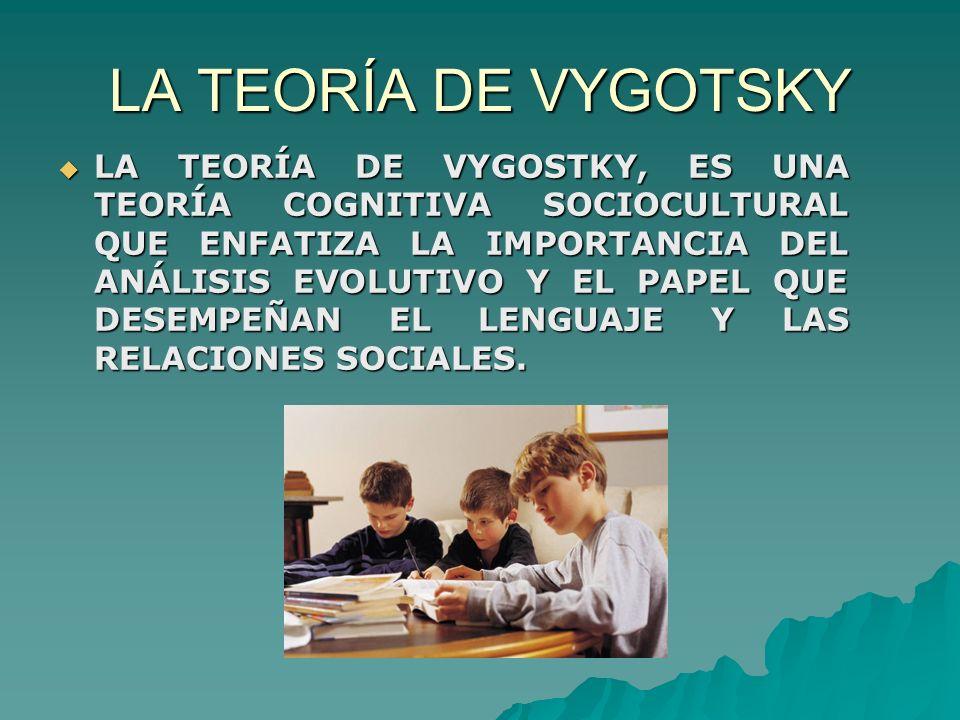 LA TEORÍA DE VYGOTSKY LA TEORÍA DE VYGOSTKY, ES UNA TEORÍA COGNITIVA SOCIOCULTURAL QUE ENFATIZA LA IMPORTANCIA DEL ANÁLISIS EVOLUTIVO Y EL PAPEL QUE DESEMPEÑAN EL LENGUAJE Y LAS RELACIONES SOCIALES.