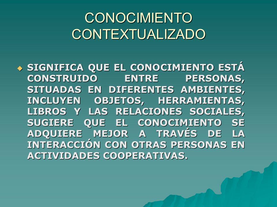 CONOCIMIENTO CONTEXTUALIZADO SIGNIFICA QUE EL CONOCIMIENTO ESTÁ CONSTRUIDO ENTRE PERSONAS, SITUADAS EN DIFERENTES AMBIENTES, INCLUYEN OBJETOS, HERRAMIENTAS, LIBROS Y LAS RELACIONES SOCIALES, SUGIERE QUE EL CONOCIMIENTO SE ADQUIERE MEJOR A TRAVÉS DE LA INTERACCIÓN CON OTRAS PERSONAS EN ACTIVIDADES COOPERATIVAS.