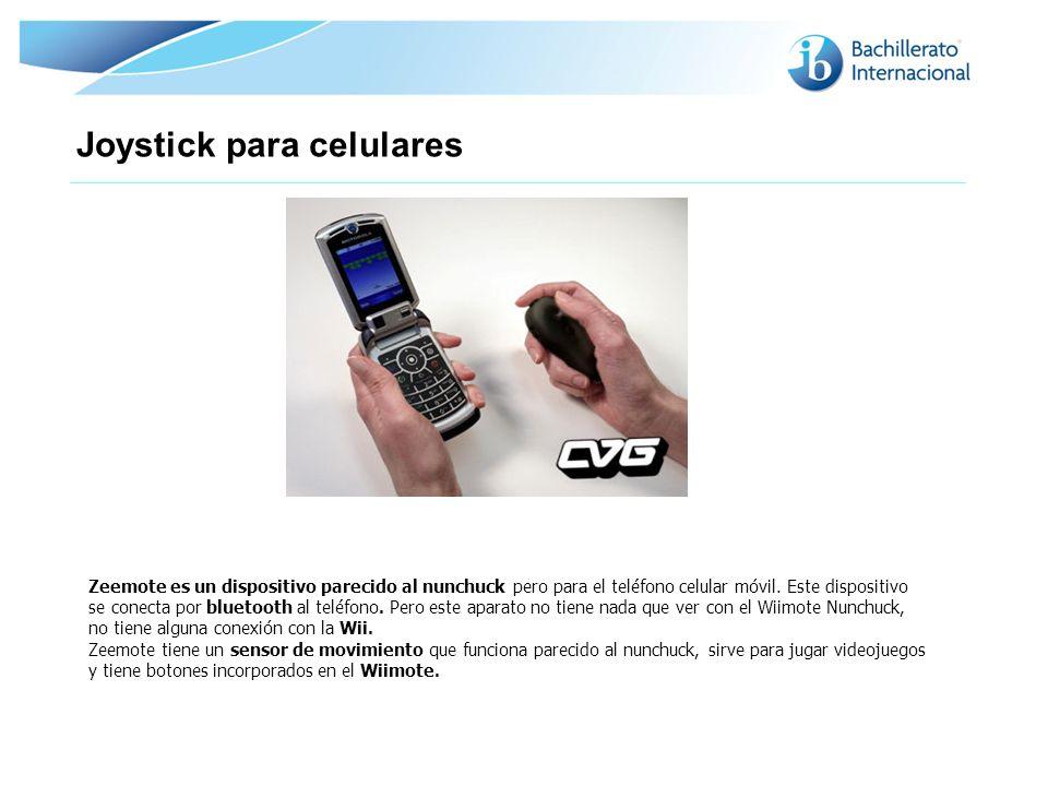 Joystick para celulares Zeemote es un dispositivo parecido al nunchuck pero para el teléfono celular móvil. Este dispositivo se conecta por bluetooth