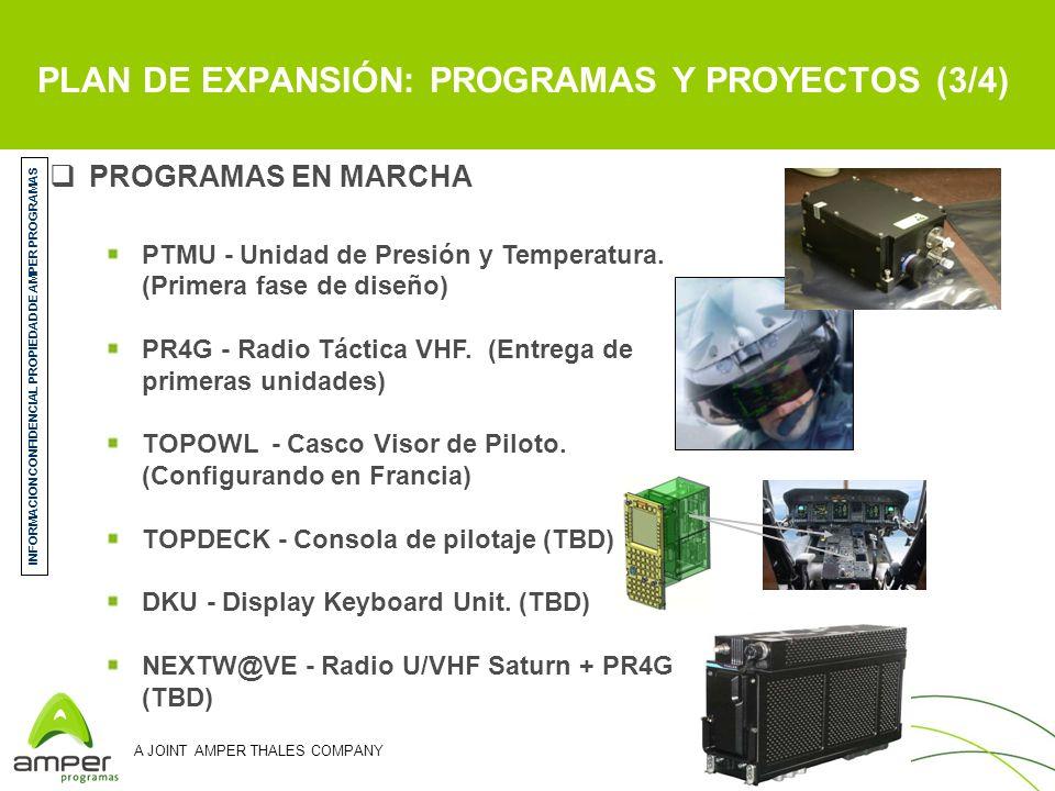 A JOINT AMPER THALES COMPANY PROGRAMAS EN MARCHA PTMU - Unidad de Presión y Temperatura. (Primera fase de diseño) PR4G - Radio Táctica VHF. (Entrega d