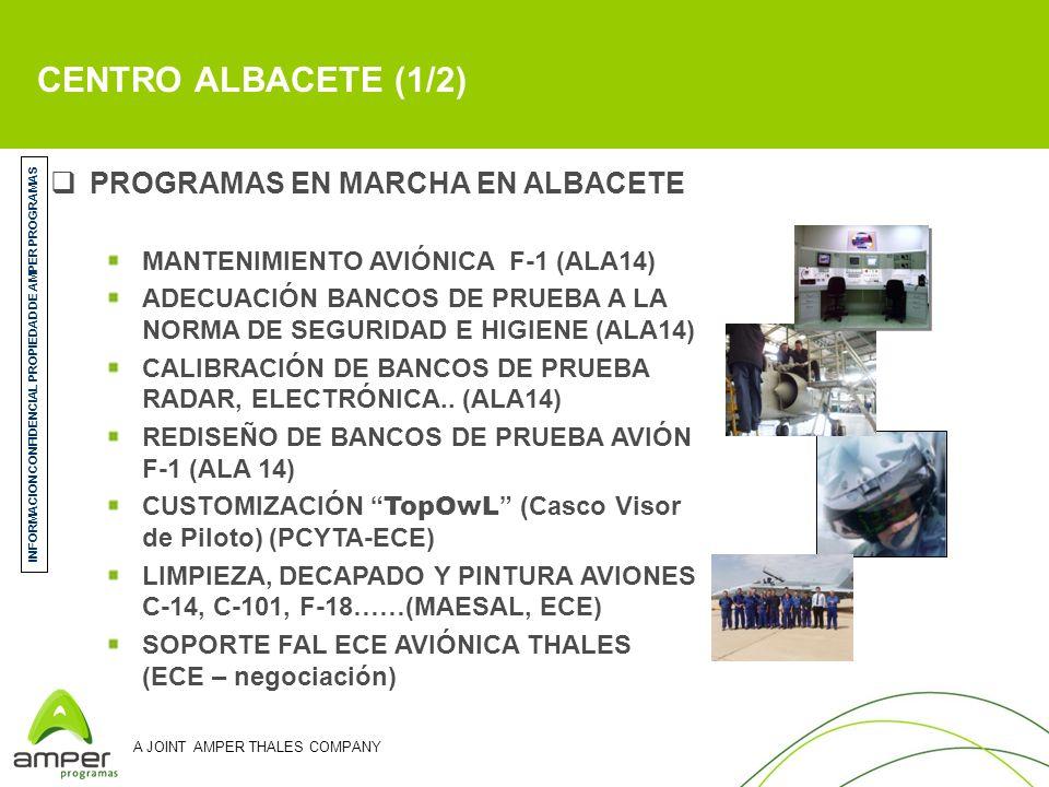 A JOINT AMPER THALES COMPANY PROGRAMAS EN MARCHA EN ALBACETE MANTENIMIENTO AVIÓNICA F-1 (ALA14) ADECUACIÓN BANCOS DE PRUEBA A LA NORMA DE SEGURIDAD E