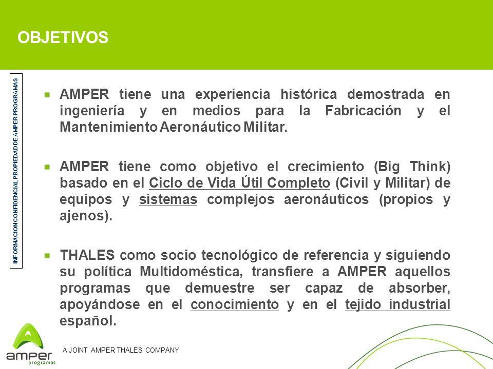 A JOINT AMPER THALES COMPANY OBJETIVOS AMPER tiene una experiencia histórica demostrada en ingeniería y en medios para la Fabricación y el Mantenimien