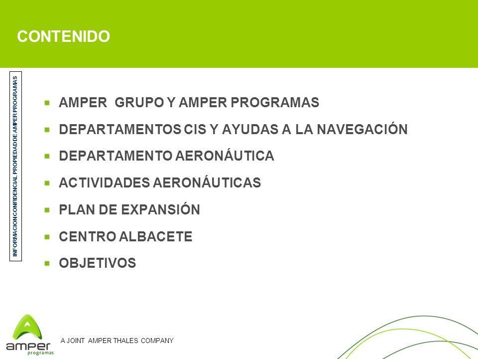 A JOINT AMPER THALES COMPANY AMPER PROGRAMAS DE ELECTRÓNICA Y COMUNICACIONES AMPER PROGRAMAS JOINT VENTURE entre AMPER (51%) y THALES (49%) Mercado: DEFENSA 289 empleados; Facturación 66 M en 2007 LINEAS DE ACTIVIDAD – Sistemas de Información y Comunicaciones (80%) – Ayudas a la Navegación (10%) – Aeronáutica (10%) AMPER GRUPO GRUPO TECNOLÓGICO PRIVADO ESPAÑOL 1160 empleados; Facturación 310 M en 2007 10 empresas UNIDADES DE NEGOCIO – Telecomunicaciones civiles (Integración de redes, sistemas, equipos, servicios) – Homeland Security (C4ISR, Criptosistemas, Sensores) – Defensa (CIS, Aeronáutica) INFORMACION CONFIDENCIAL PROPIEDAD DE AMPER PROGRAMAS