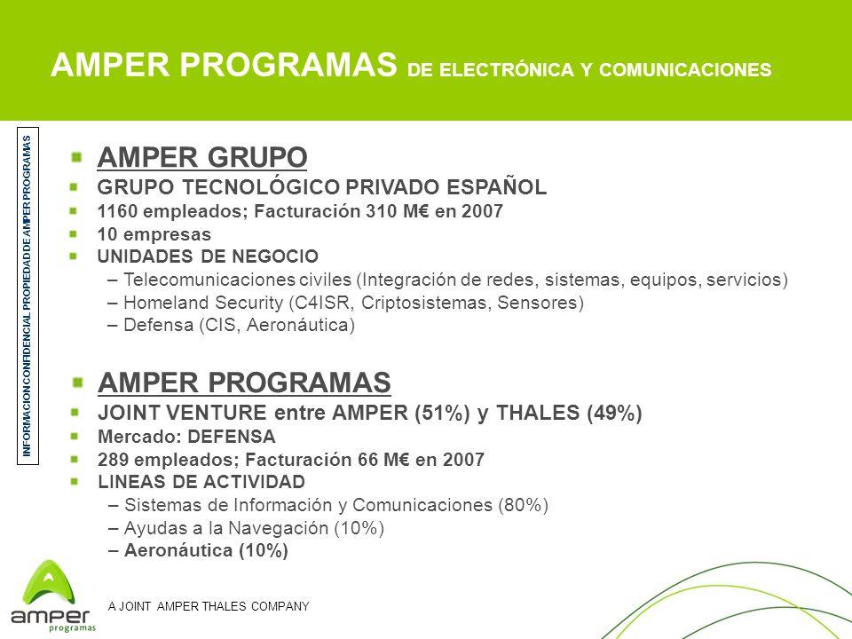 A JOINT AMPER THALES COMPANY AMPER PROGRAMAS DE ELECTRÓNICA Y COMUNICACIONES AMPER PROGRAMAS JOINT VENTURE entre AMPER (51%) y THALES (49%) Mercado: D