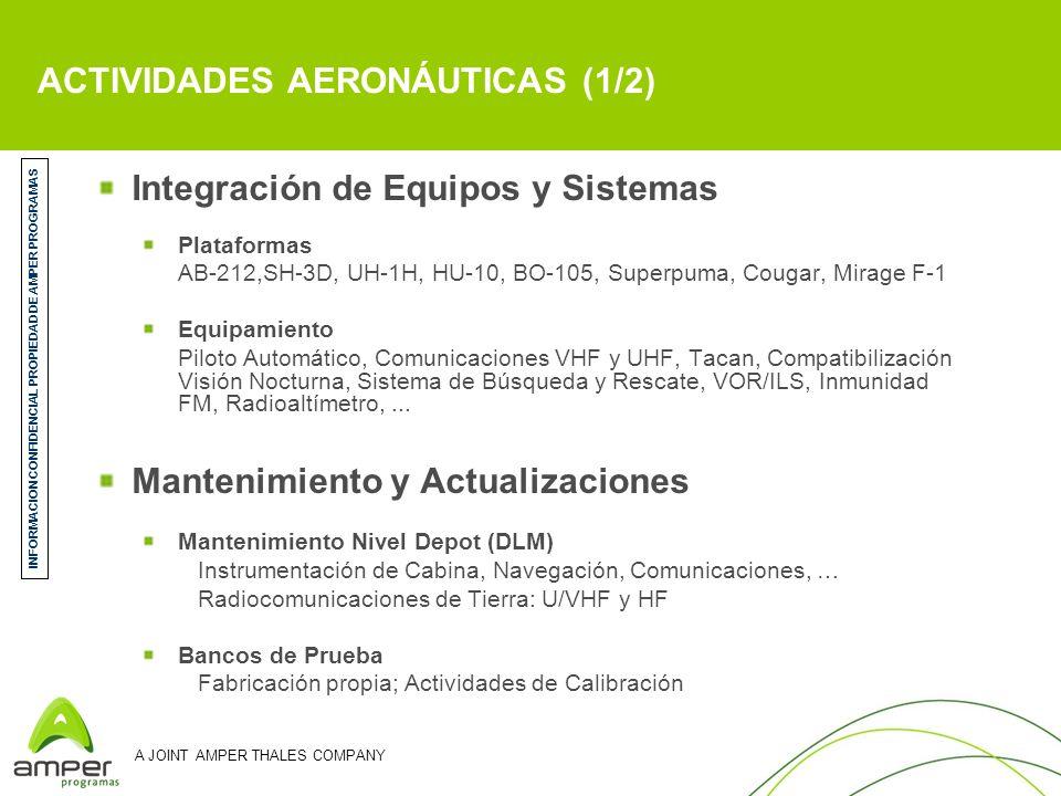 A JOINT AMPER THALES COMPANY ACTIVIDADES AERONÁUTICAS (1/2) Integración de Equipos y Sistemas Plataformas AB-212,SH-3D, UH-1H, HU-10, BO-105, Superpum