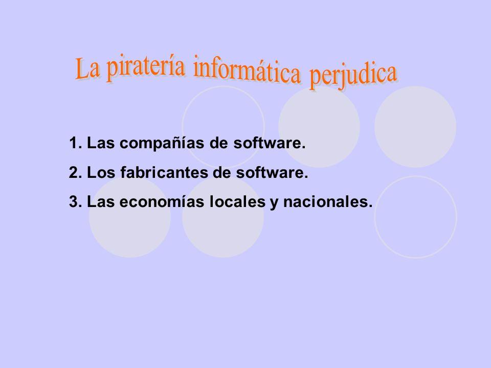 1.Las compañías de software. 2. Los fabricantes de software.