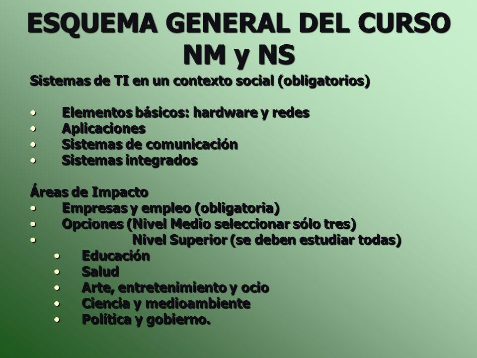ESQUEMA GENERAL DEL CURSO NM y NS Sistemas de TI en un contexto social (obligatorios) Elementos básicos: hardware y redesElementos básicos: hardware y