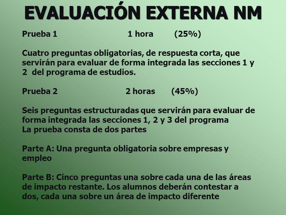 EVALUACIÓN EXTERNA NM Prueba 1 1 hora (25%) Cuatro preguntas obligatorias, de respuesta corta, que servirán para evaluar de forma integrada las seccio
