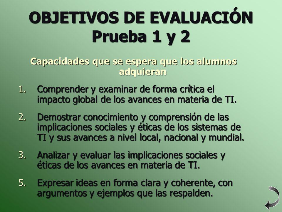 OBJETIVOS DE EVALUACIÓN Prueba 1 y 2 Capacidades que se espera que los alumnos adquieran 1.Comprender y examinar de forma crítica el impacto global de