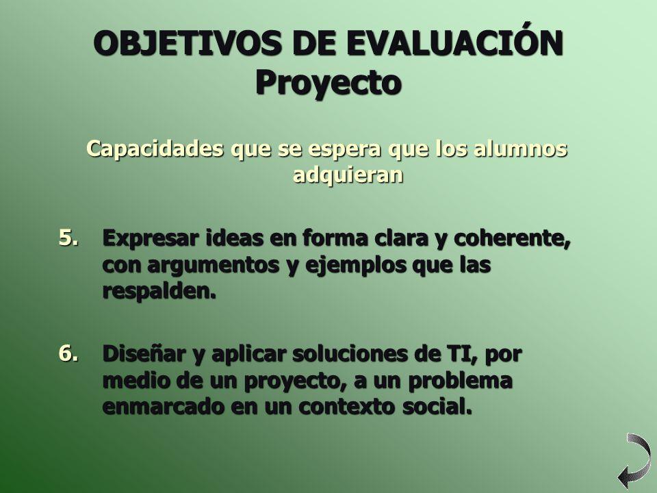 OBJETIVOS DE EVALUACIÓN Proyecto Capacidades que se espera que los alumnos adquieran 5.Expresar ideas en forma clara y coherente, con argumentos y eje