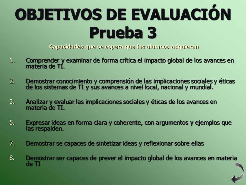 OBJETIVOS DE EVALUACIÓN Prueba 3 Capacidades que se espera que los alumnos adquieran 1.Comprender y examinar de forma crítica el impacto global de los