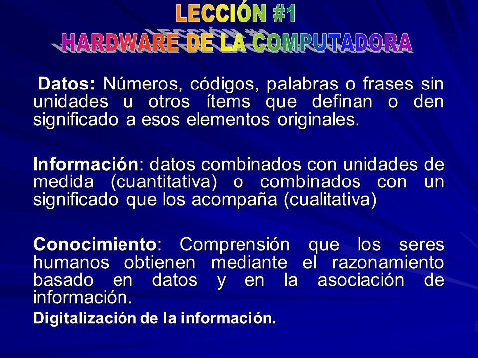 Datos: Números, códigos, palabras o frases sin unidades u otros ítems que definan o den significado a esos elementos originales. Datos: Números, códig
