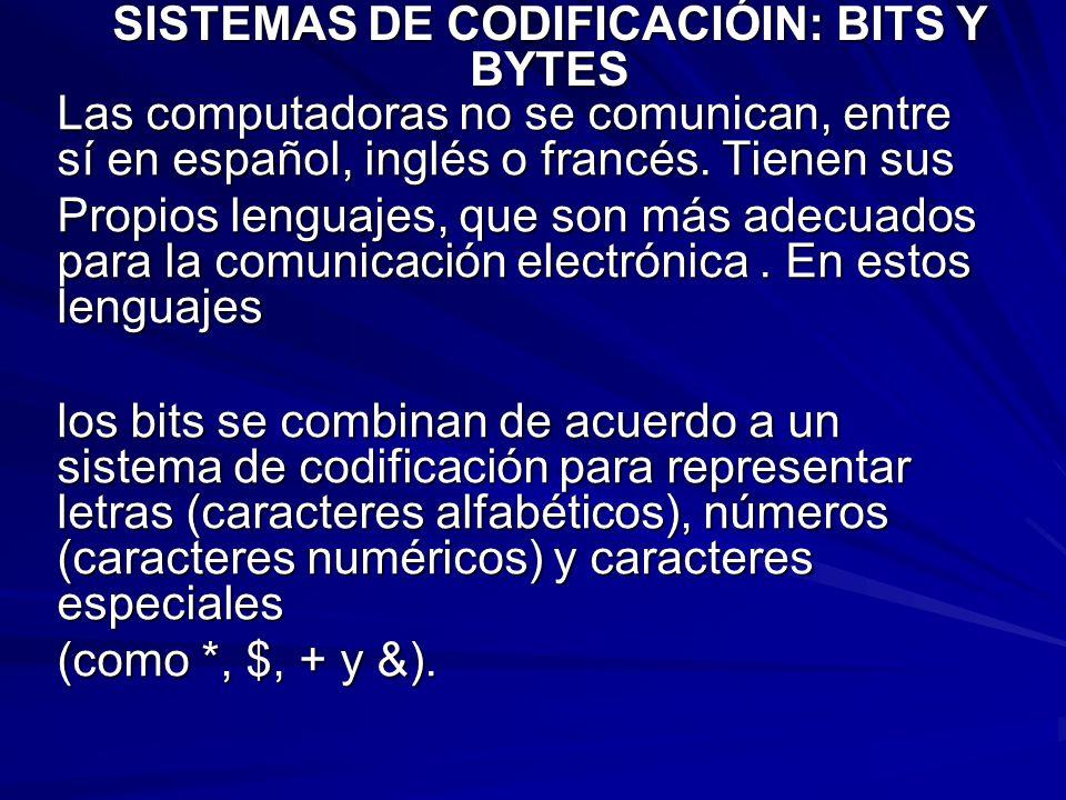 Las computadoras no se comunican, entre sí en español, inglés o francés. Tienen sus Propios lenguajes, que son más adecuados para la comunicación elec