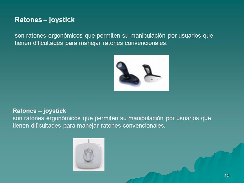 15 Ratones – joystick son ratones ergonómicos que permiten su manipulación por usuarios que tienen dificultades para manejar ratones convencionales. R