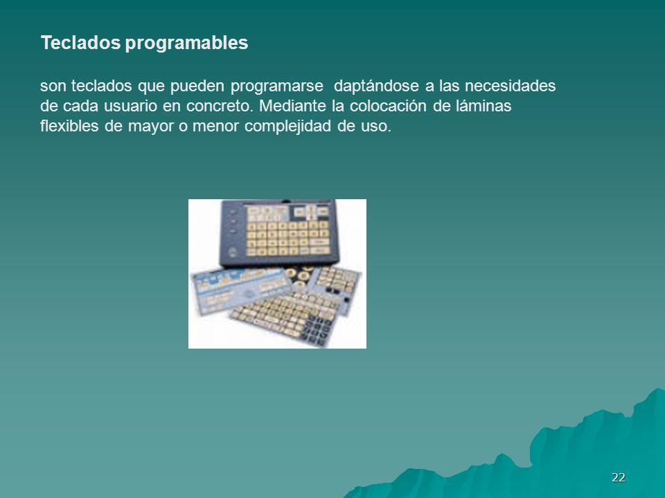 22 Teclados programables son teclados que pueden programarse daptándose a las necesidades de cada usuario en concreto. Mediante la colocación de lámin