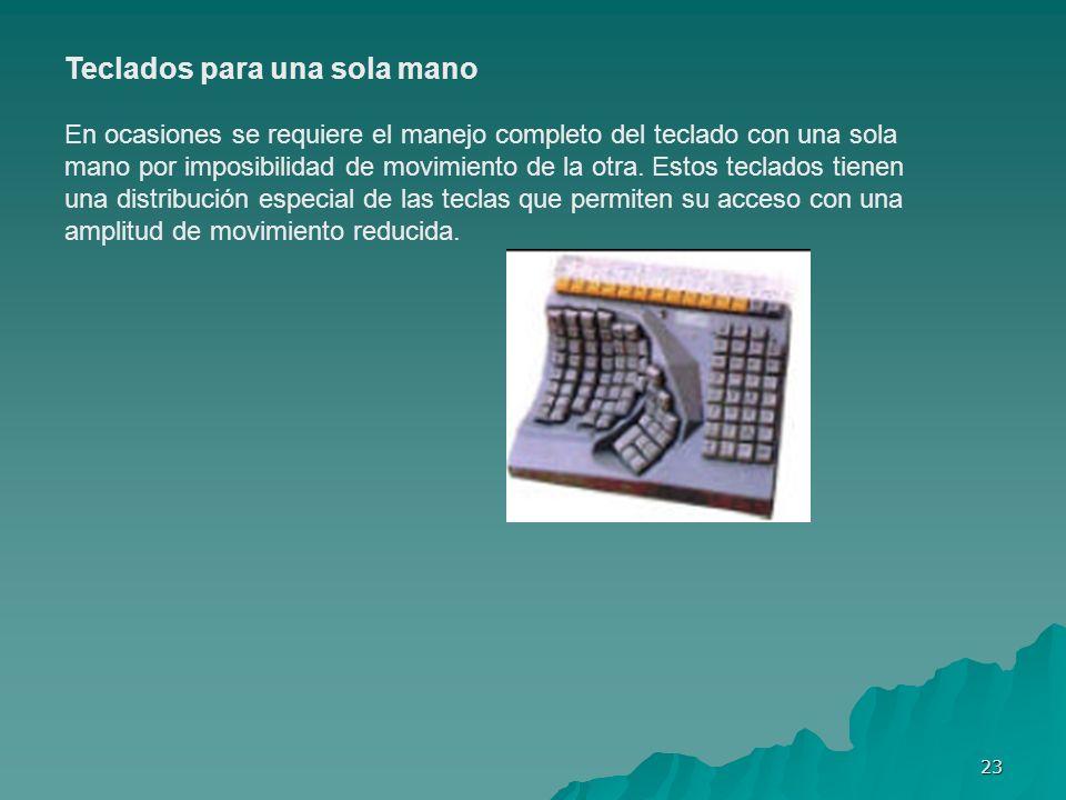 23 Teclados para una sola mano En ocasiones se requiere el manejo completo del teclado con una sola mano por imposibilidad de movimiento de la otra. E