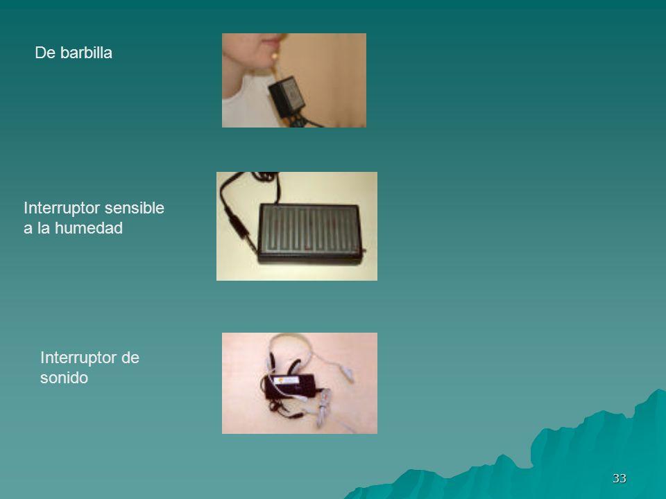 33 De barbilla Interruptor sensible a la humedad Interruptor de sonido