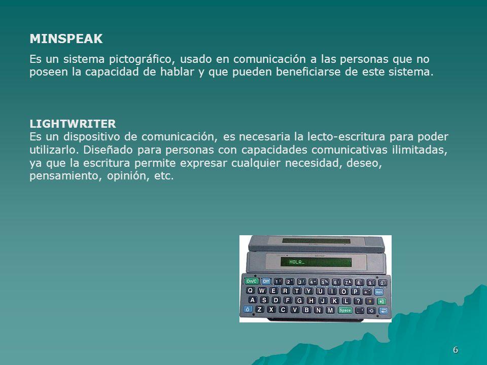 6 MINSPEAK Es un sistema pictográfico, usado en comunicación a las personas que no poseen la capacidad de hablar y que pueden beneficiarse de este sis