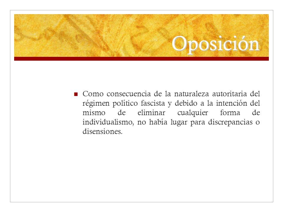 Oposición Como consecuencia de la naturaleza autoritaria del régimen político fascista y debido a la intención del mismo de eliminar cualquier forma d