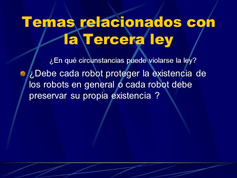 Temas relacionados con la Tercera ley ¿En qué circunstancias puede violarse la ley? ¿Debe cada robot proteger la existencia de los robots en general o