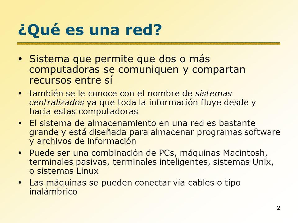 2 ¿Qué es una red? Sistema que permite que dos o más computadoras se comuniquen y compartan recursos entre sí también se le conoce con el nombre de si