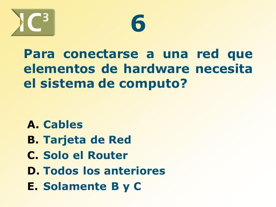 Para conectarse a una red que elementos de hardware necesita el sistema de computo? A.Cables B.Tarjeta de Red C.Solo el Router D.Todos los anteriores