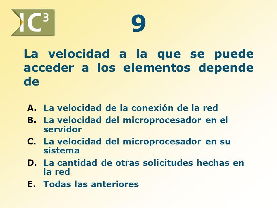 La velocidad a la que se puede acceder a los elementos depende de A.La velocidad de la conexión de la red B.La velocidad del microprocesador en el ser