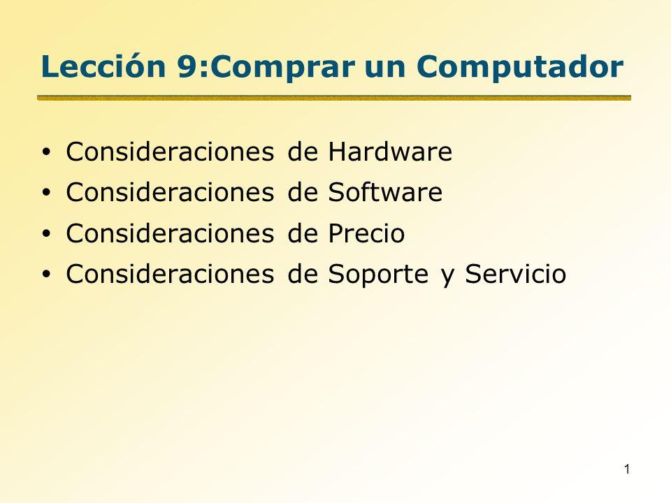 2 Lista de Chequeo para la Compra Considere requerimientos de Hardware y Software –Que tan rápido necesita que sea el sistema, cuales son los requerimientos del usuario.
