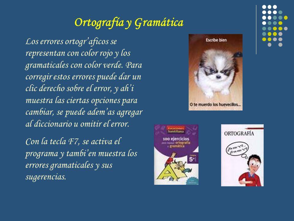 Ortografía y Gramática Los errores ortograficos se representan con color rojo y los gramaticales con color verde. Para corregir estos errores puede da