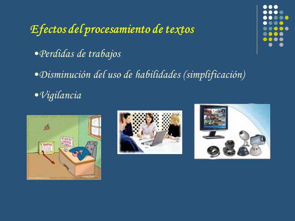 Perdidas de trabajos Disminución del uso de habilidades (simplificación) Vigilancia Efectos del procesamiento de textos