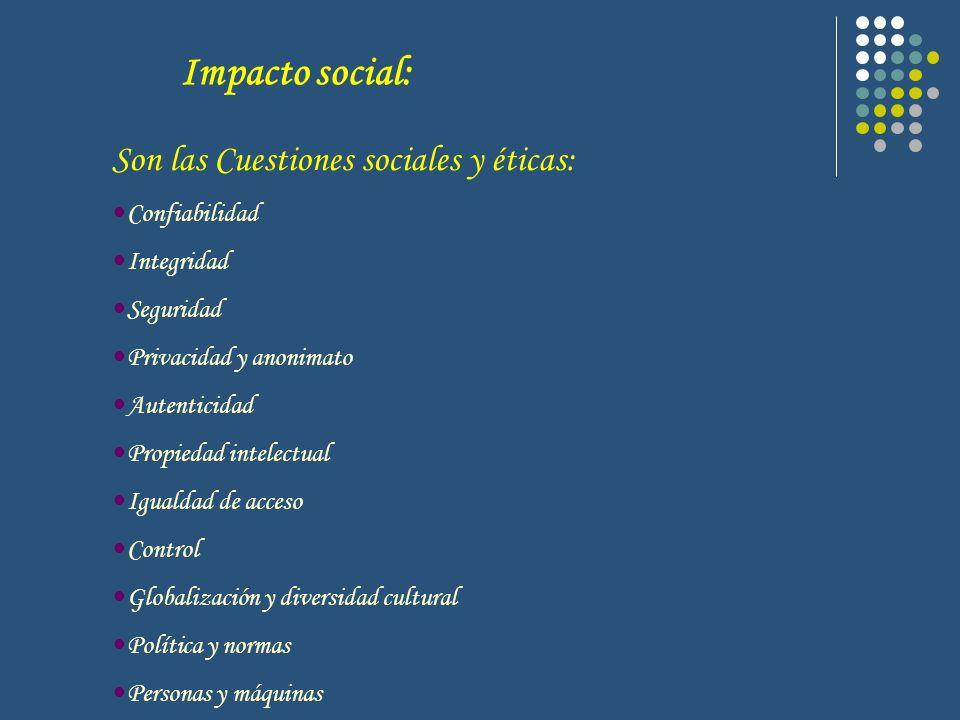 Impacto social: Son las Cuestiones sociales y éticas: Confiabilidad Integridad Seguridad Privacidad y anonimato Autenticidad Propiedad intelectual Igu