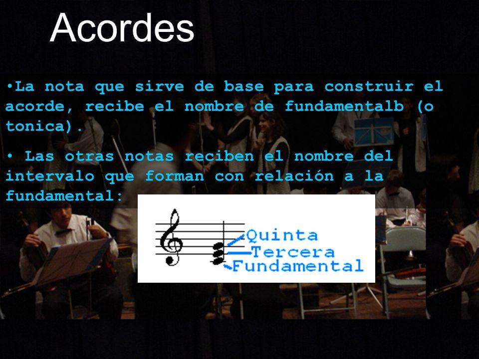 Acordes La nota que sirve de base para construir el acorde, recibe el nombre de fundamentalb (o tonica). Las otras notas reciben el nombre del interva