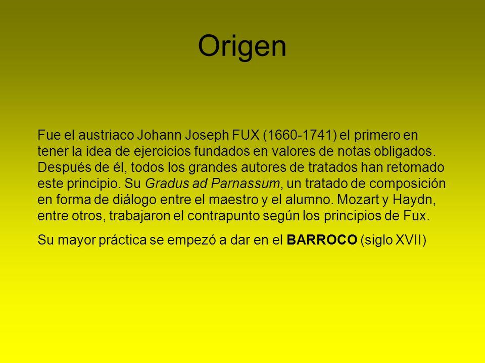 Origen Fue el austriaco Johann Joseph FUX (1660-1741) el primero en tener la idea de ejercicios fundados en valores de notas obligados. Después de él,