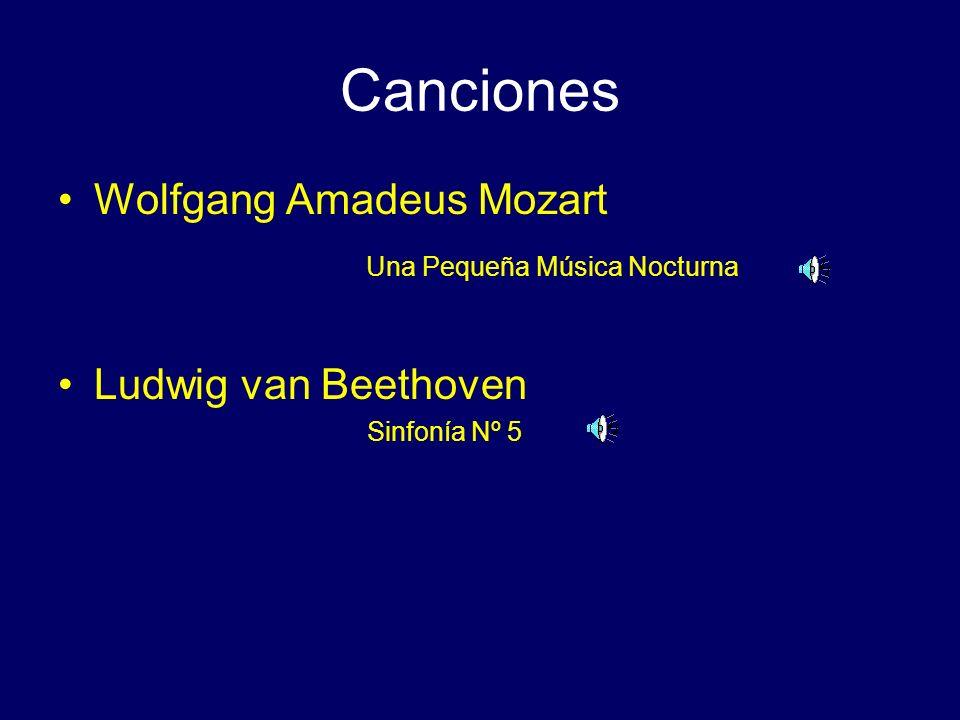 Canciones Wolfgang Amadeus Mozart Una Pequeña Música Nocturna Ludwig van Beethoven Sinfonía Nº 5